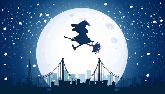 Bruxa voando sobre a lua Vetor grátis