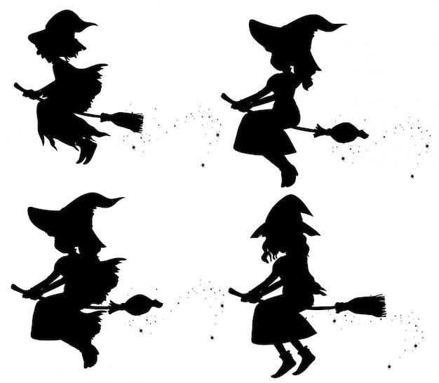 Bruxas em personagem de desenho animado silhueta isolada no fundo branco Vetor grátis