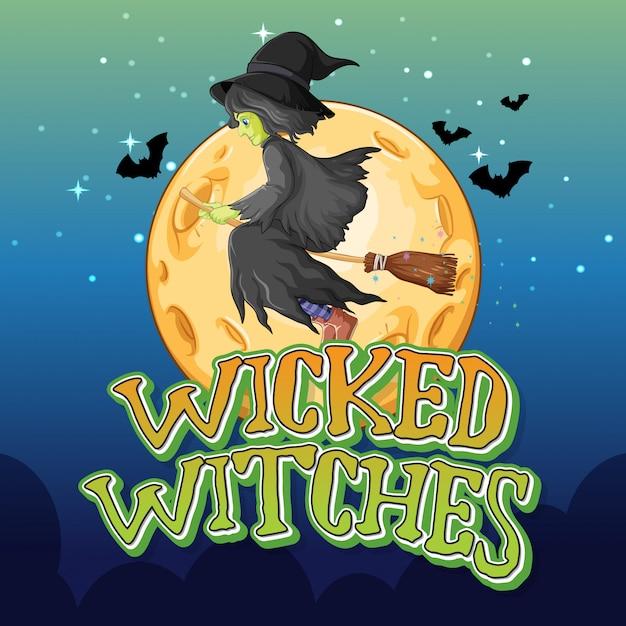 Bruxas malvadas no fundo da noite Vetor grátis