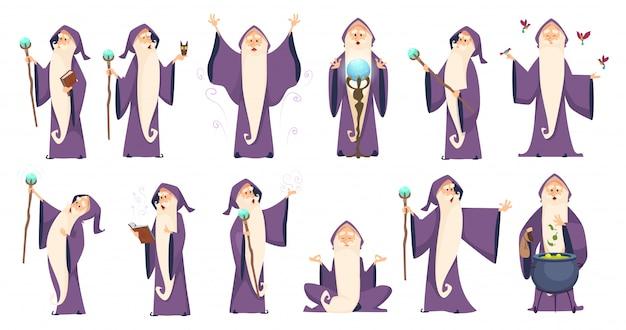 Bruxo. mágico homem misterioso em personagens de desenhos animados de merlin oldster robe ortografia Vetor Premium