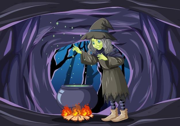 Bruxo ou bruxa com um pote mágico na cena da caverna escura Vetor grátis