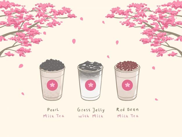 Bubble milk tea mão desenhada Vetor Premium