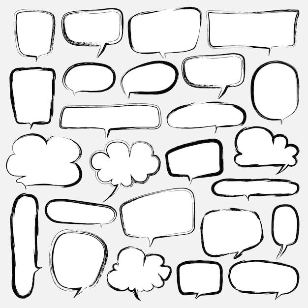 Bubbles set doodle estilo comic balloon. Vetor Premium