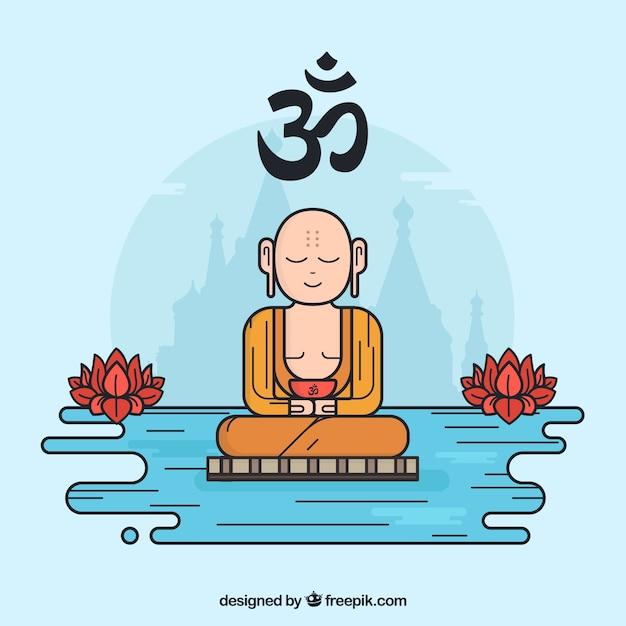 Budha desenhada de mão com estilo colorido Vetor grátis