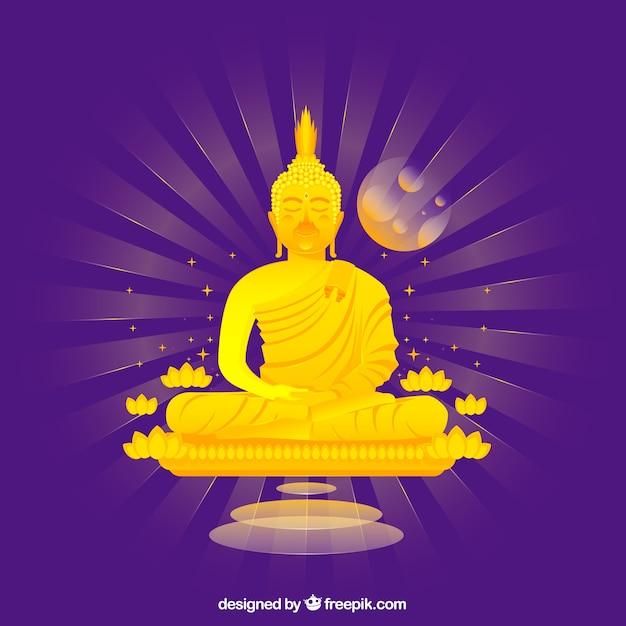 Budha tradicional com design plano Vetor grátis