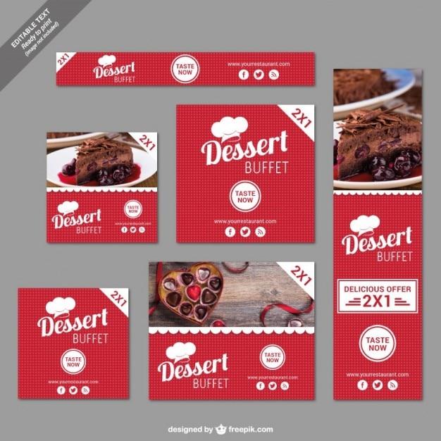 Buffet de sobremesas banners com desconto Vetor grátis