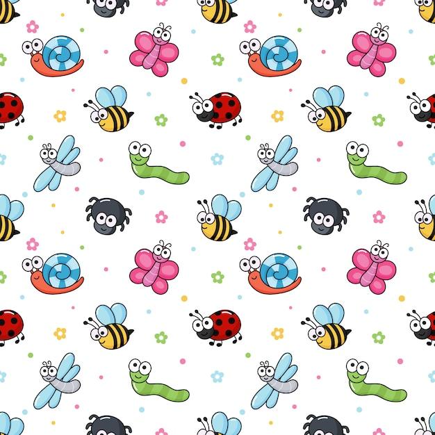 Bugs engraçados padrão sem emenda. insetos dos desenhos animados Vetor Premium