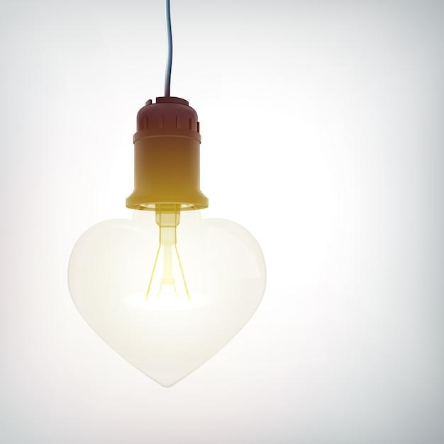 Bulbo 3d coração Vetor grátis