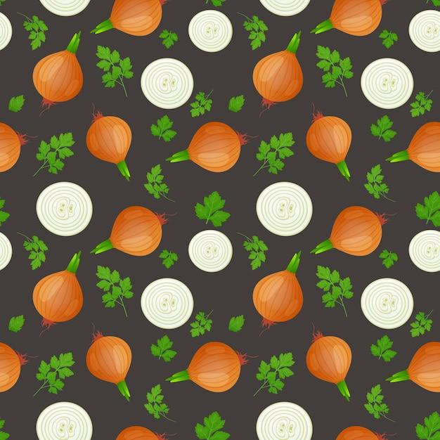 Bulbo de cebola com broto verde e uma fatia isolada em fundo escuro. cebola madura com folhas de salsa. padrão uniforme. Vetor Premium