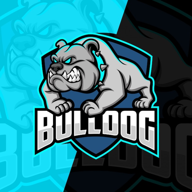 Buldogue mascote esport design de logotipo Vetor Premium