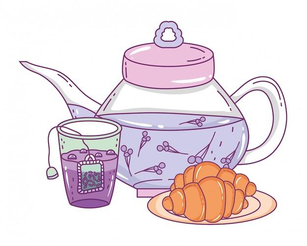 Bule de chá e pão isolado Vetor Premium