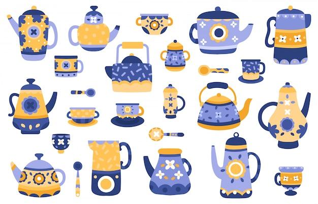 Bule de cozinha dos desenhos animados. bules de chá de cerâmica e chaleiras, servindo talheres, conjunto de ícones de ilustração de elementos decorativos de cerimônia de chá. utensílios de cozinha e chaleira cerâmica Vetor Premium