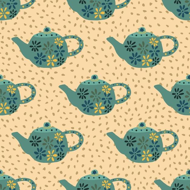 Bules turquesas com padrão sem emenda de flores. mão desenhada pratos de cozinha em fundo laranja claro com pontos. Vetor Premium