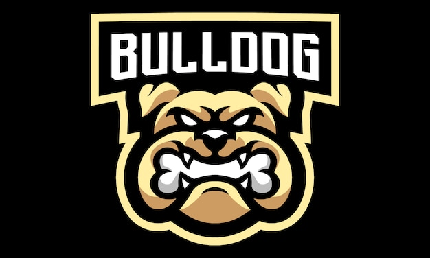Bulldog esports mascote logotipo design-01 Vetor Premium