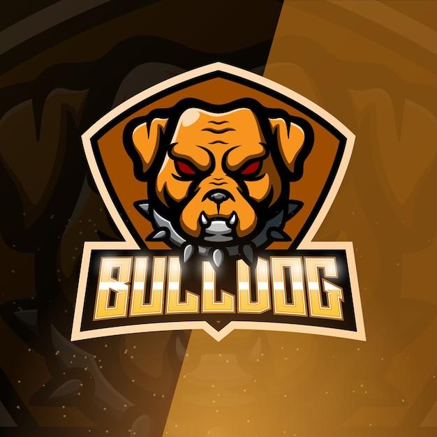 Bulldog mascote esport ilustração Vetor Premium