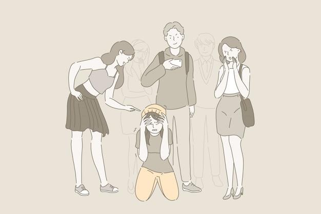 Bullying na escola e problema de zombaria. Vetor Premium