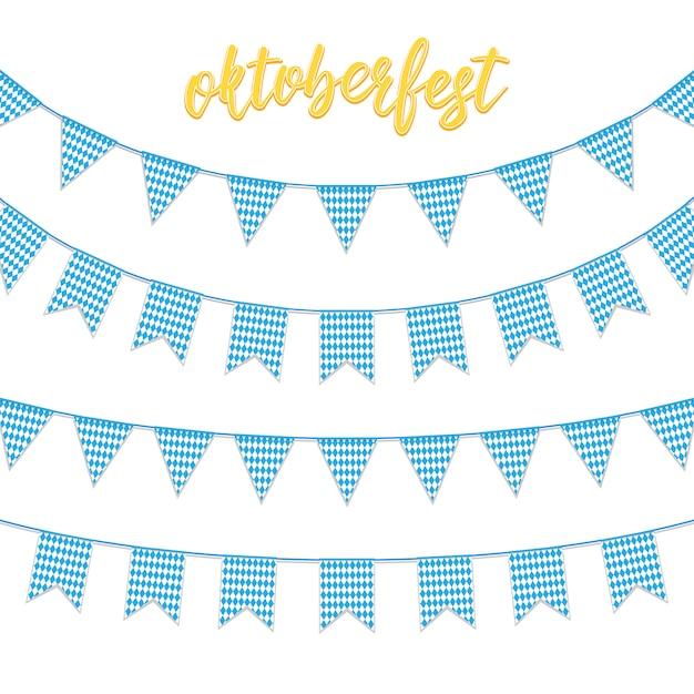 Buntings de festão da bandeira azul quadriculada da baviera e mão lettering oktoberfest. Vetor Premium