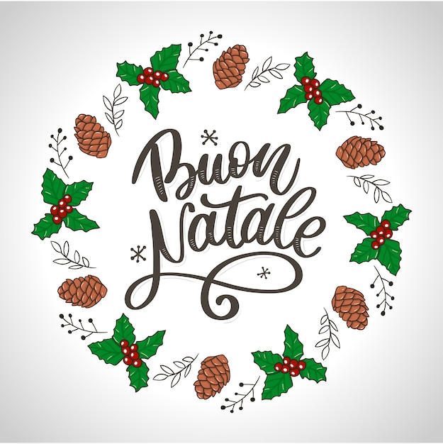 Buon natale. cartão de feliz natal Vetor Premium