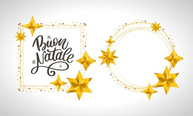Buon natale. feliz natal caligrafia modelo em cartão italiano com moldura de círculo vazio Vetor Premium