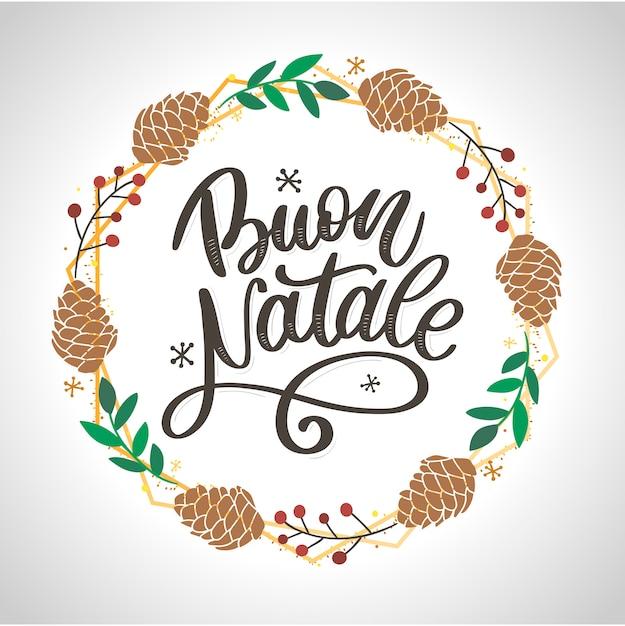 Buon natale. feliz natal caligrafia modelo em italiano. cartão de saudação tipografia preto no branco. ilustração mão desenhada letras. Vetor Premium