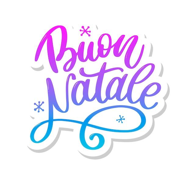 Buon natale. feliz natal caligrafia modelo em italiano. Vetor Premium