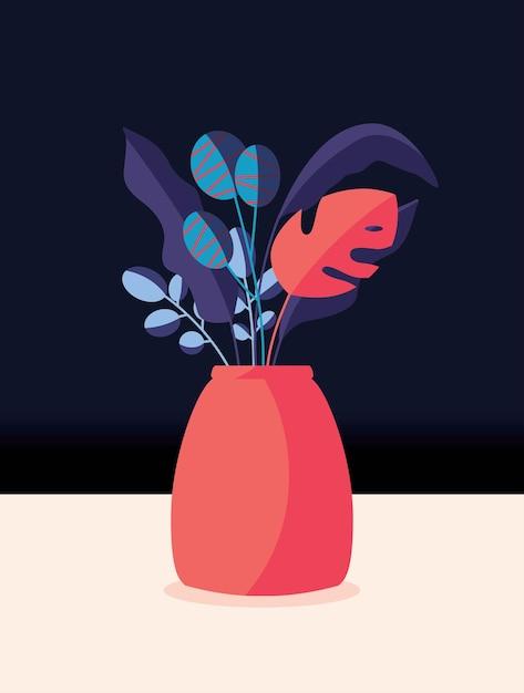 Buquê colorido de flores da primavera e ramos em um vaso. ilustração vertical artística elegante. Vetor Premium