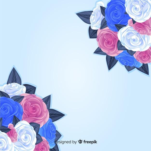 Buquê colorido de fundo de flores Vetor grátis