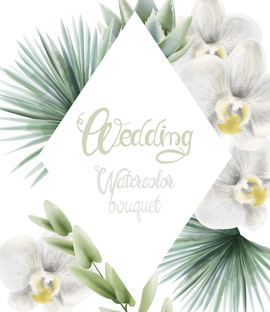 Buquê de aquarela casamento com folhas de palmeira Vetor Premium