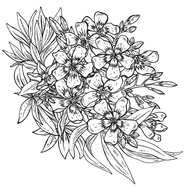Buquê de flor de rododendro desenhado à mão Vetor Premium
