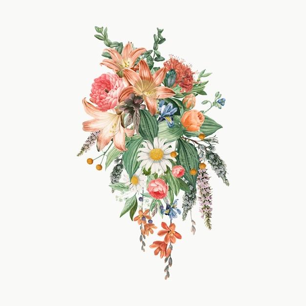 Buquê de flores de lilly Vetor grátis