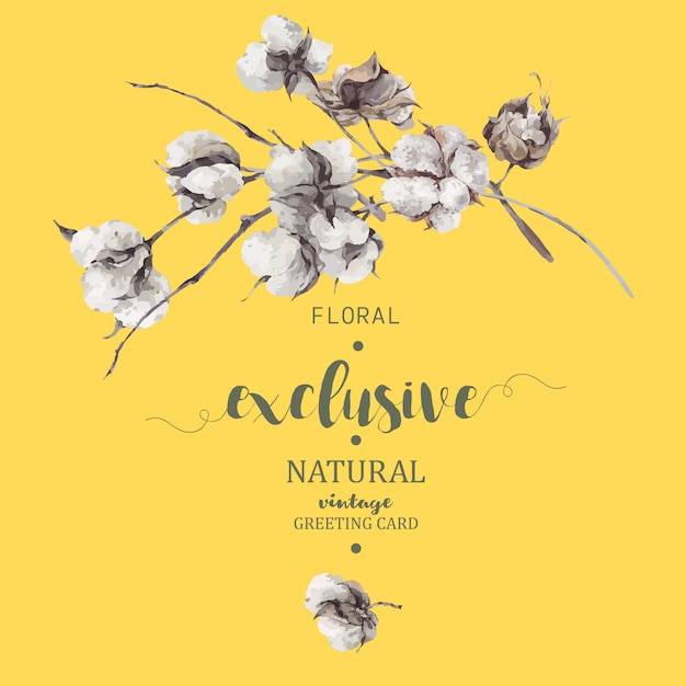 Buquê de galhos e flores de algodão Vetor Premium