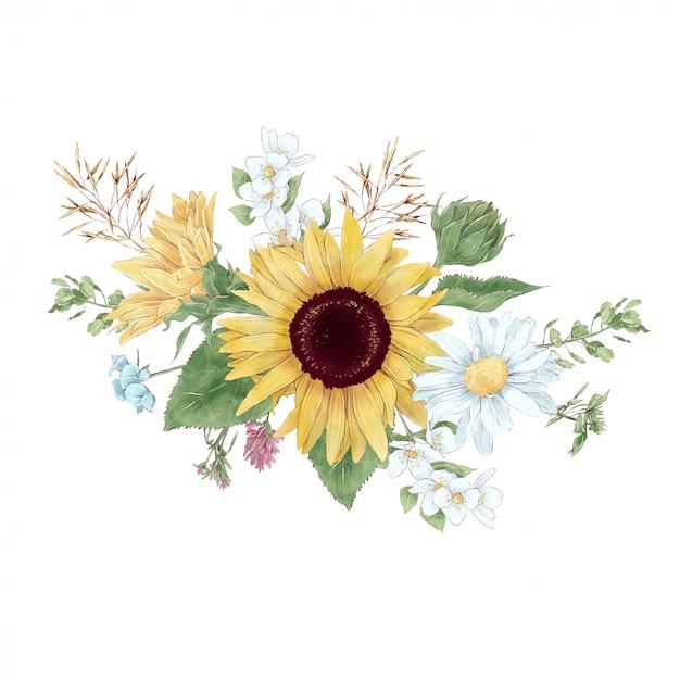 Buquê de girassóis e flores silvestres em estilo aquarela digital Vetor Premium