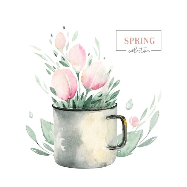 Buquê de primavera de flores desabrochando com folhas verdes. pintura em aquarela flor. mão desenhada rosa isolado design floral Vetor Premium