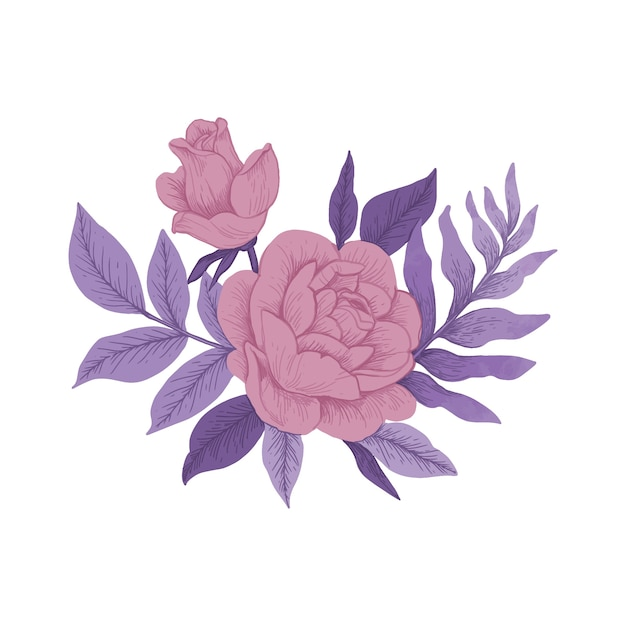 Buquê floral colorido vintage Vetor grátis