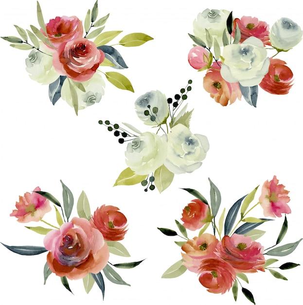 Buquês de borgonha aquarela e rosas brancas Vetor Premium