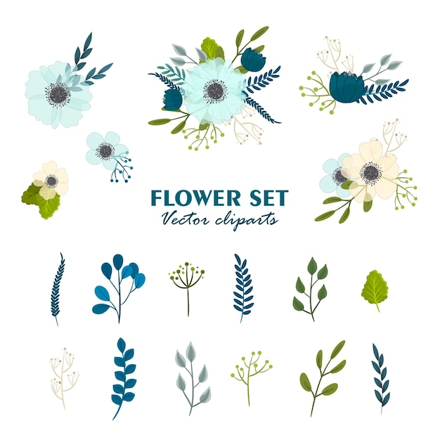 Buquês de flores fofos, conjunto de flores de clipart Vetor grátis