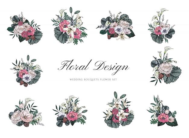 Buquês de flores vintage para design de casamento e convite Vetor Premium