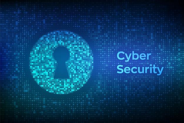 Buraco da fechadura digital. de segurança cibernética, firewall, segurança de rede, criptografia de dados. Vetor Premium