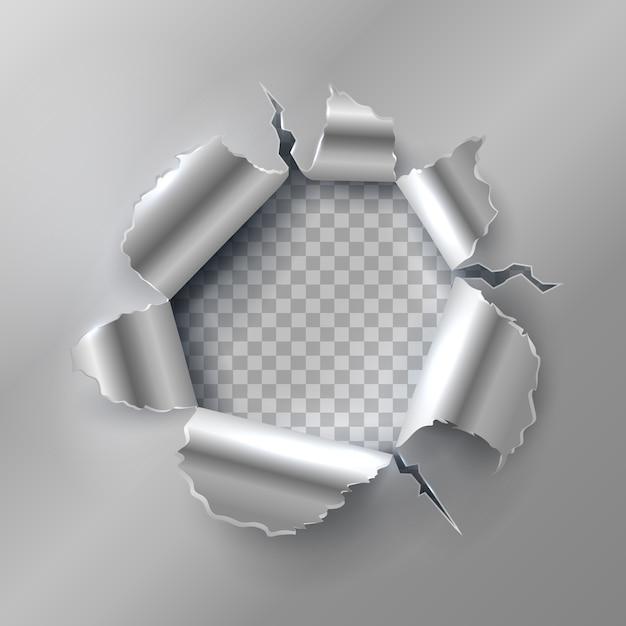 Buraco de bala em metal. abertura com bordas de aço rasgadas. ilustração em vetor isolada em fundo transparente Vetor Premium