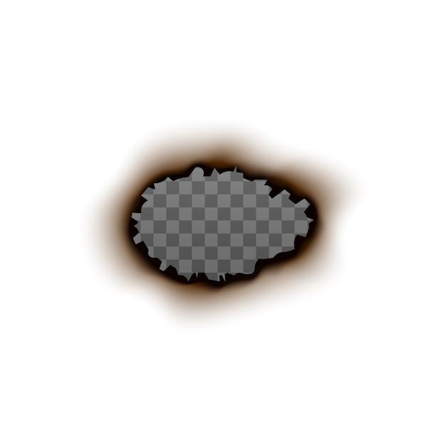 Buraco de papel queimado com interior transparente em branco - moldura realista sobre fundo branco. forma oval charred com bordas rasgadas e traço de fogo - ilustração. Vetor Premium