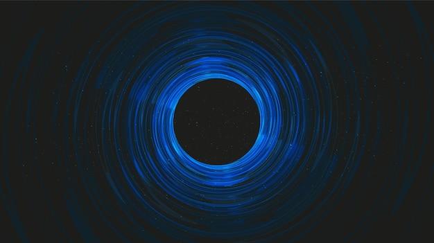 Buraco negro escuro moderno na galáxia background.planet e física. Vetor Premium