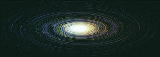 Buraco negro solar realista no fundo da galáxia Vetor Premium