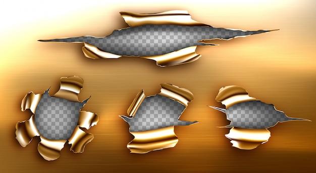 Buraco rasgado, rachadura irregular na folha dourada Vetor grátis