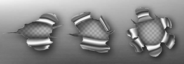 Buracos de metal com bordas onduladas, rachaduras irregulares Vetor grátis