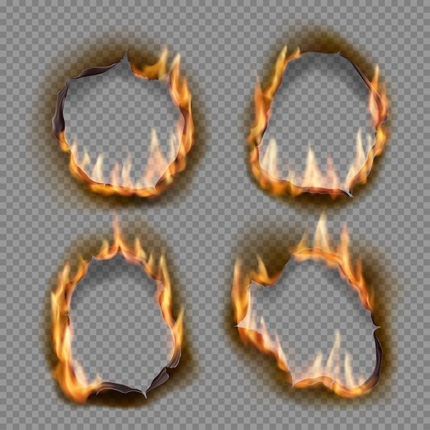 Buracos de queima, queime fogo de papel com objetos realistas de bordas carbonizadas. chama na folha. queimaram buracos abstratos em chamas de fogo, bordas rasgadas e molduras rasgadas em fundo transparente Vetor Premium