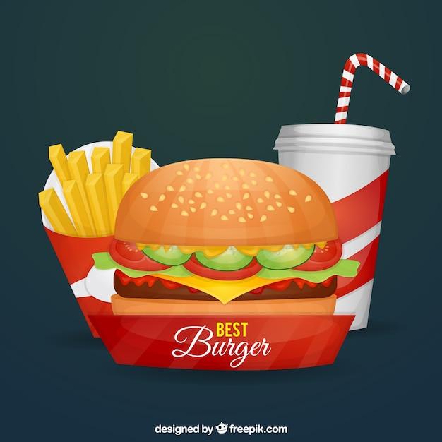 Burger, batata frita e bebida Vetor grátis