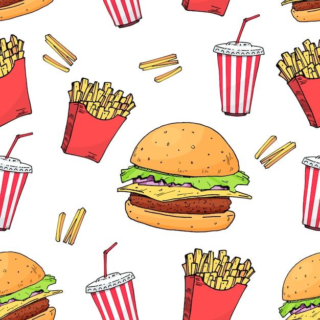 Burger. cola. sem batata. padrão sem emenda de fast-food colorido Vetor Premium