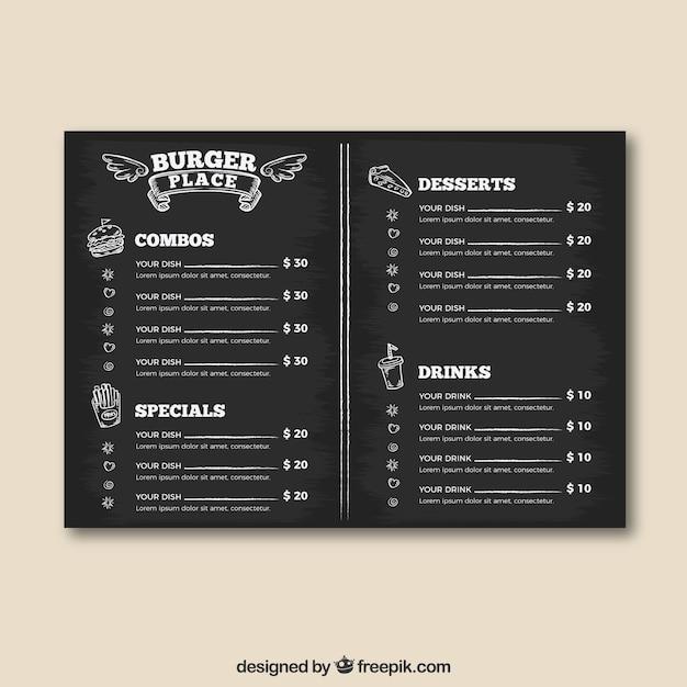 Burger place menu template em estilo quadro-negro Vetor grátis