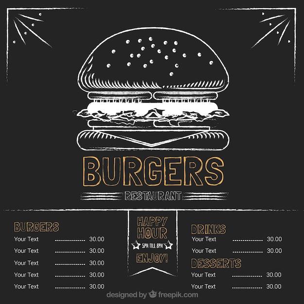 Burgers, restaurante, menu, giz, tábua Vetor grátis
