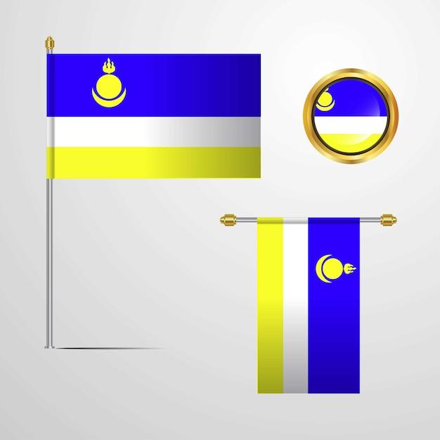 Buriácia, agitando bandeira design com vetor distintivo Vetor grátis
